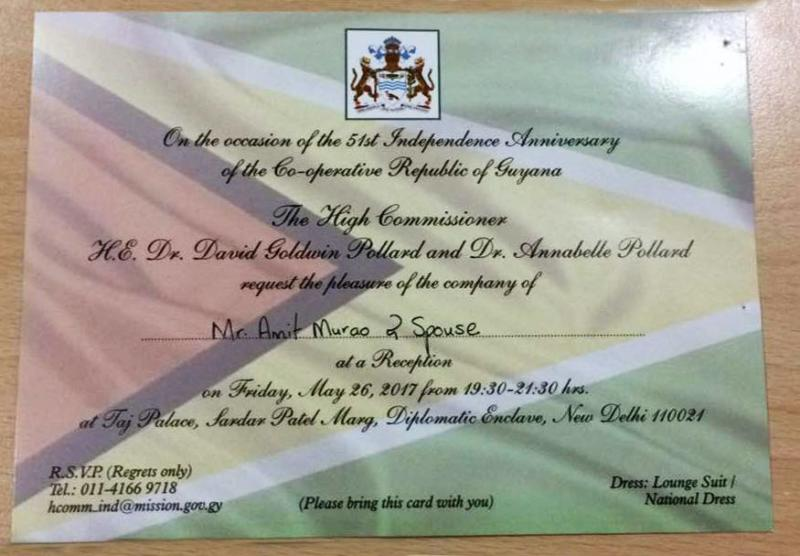 Invitation from High Commission of Guyana!!